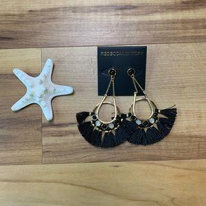 NWT! Rebecca Minkoff Black Crystal Tassel Earrings